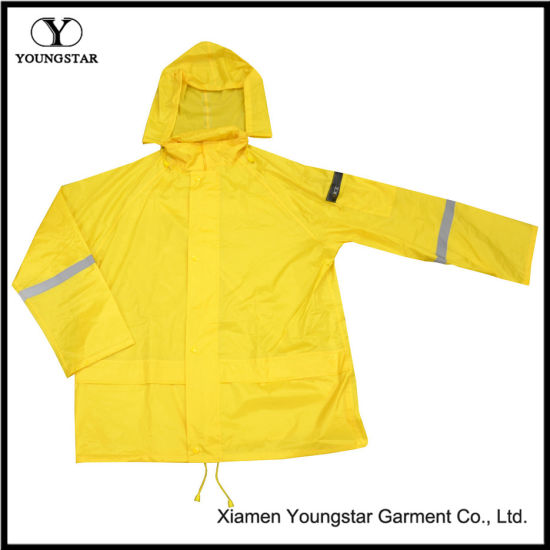 Bright Yellow Hi Vis Hooded Rain Jacket for Mens