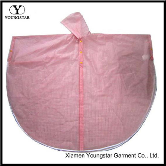 Pink Color Fashion Design PVC Rain Cape for School Girls