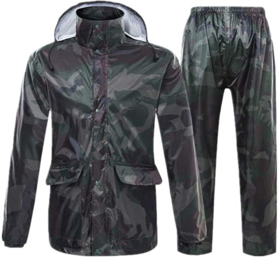 Men′s Rain Jacket, Camouflage Adult Raincoat Waterproof Outdoor Rain Pants Cycling Motorcycle Rain Coat Transparent Hat Poncho Rainwear Set, a, L