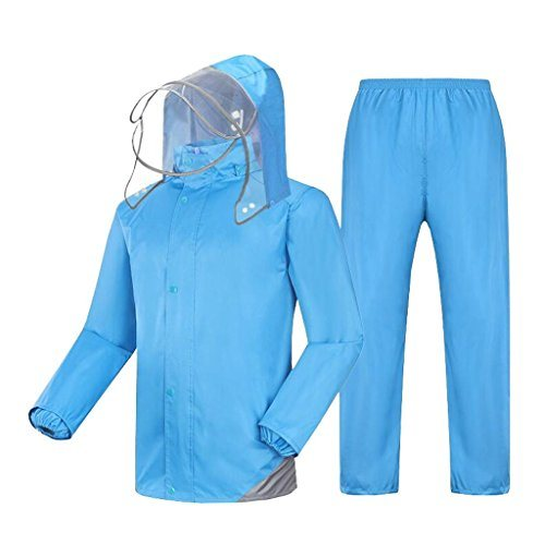 Water Proof Coat Suit Rain Jacket and Rain Pants Set Adults Rainproof Windproof Hooded Rainwear Outdoor Work Motorcycle Golf Fishing Hiking (Color: Blue, Size