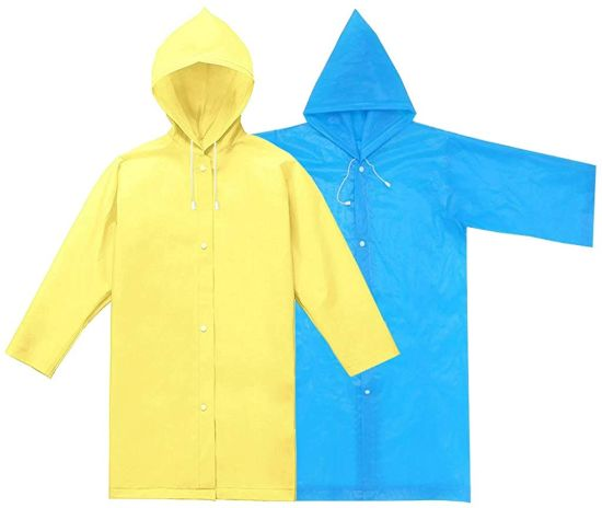 Rain Ponchos 2 Pack, Blue & Yellow, Kids Waterproof Rain Poncho, Portable Reusable Raincoat Boys Girls for School, Camping, Emergency