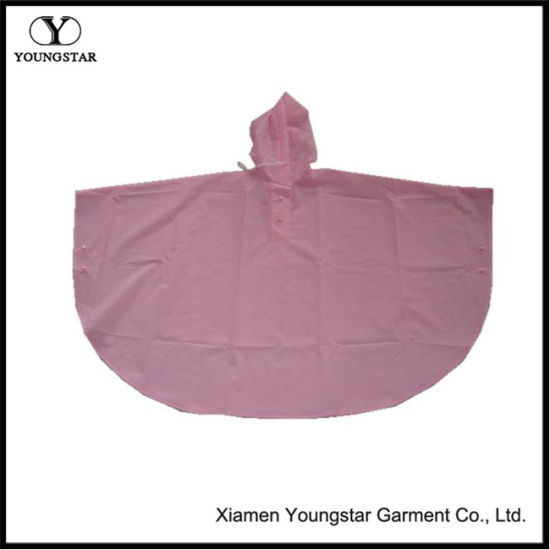 New Style Lightweight Pink Color PVC Rain Poncho for Kids