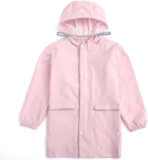 Children′s Raincoat, Boy and Girl Waterproof Poncho Environmentally Friendly and Tasteless Outdoor (Color: Light pink, Size: L)