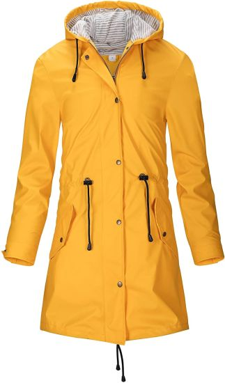 Women Raincoat Ladies PU Rain Jacket Women Waterproof Windbreaker Coat with Hood Outdoor Breathable Raincoat