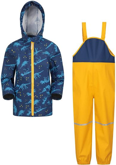Raindrop Kids Waterproof Jacket & Trousers Set - Breathable Rain Coat & Pants, Lightweight, Taped Seams, Side Pockets, Elasticated Braces, Reflective Details