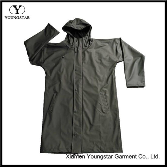 Military Green Designer Raincoat Extra Long Waterproof Raincoat with Hood