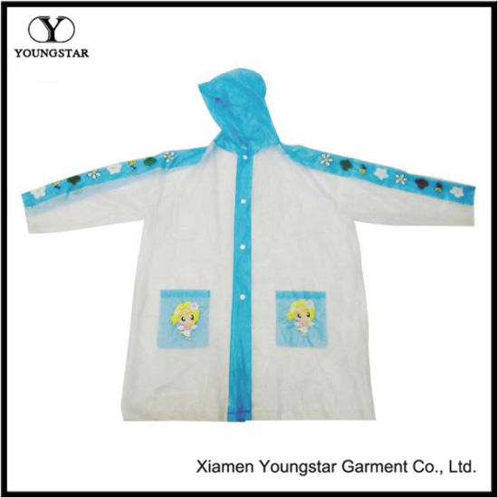 EVA Cartoon Design Rain Coat for School Children
