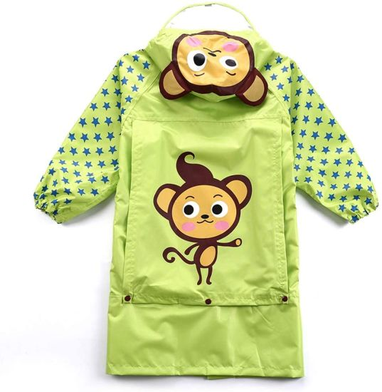 Outdoor Travel Big Hat Children Raincoat Thick Cartoon Breathable Odorless with Bag Zipper Boys and Girls Raincoat Green Monkey