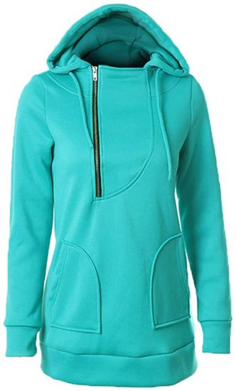 Women′s Autumn/Winter Warm Solid Color MID-Long Sports Hoodie Long Sleeve Shirt