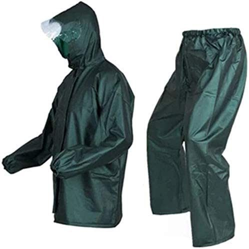 Raincoat Rain Pants Suit Split Waterproof Double Raincoat Suit Unisex, Dark Green, One Size (Color: Dark green, Size: XXL) Lili (Color: Dark Green, Size: Xx