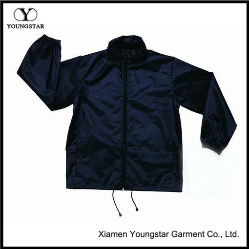 Wholesale Navy Blue Windbreaker Custom Windbreaker Pouch Jacket with Hood