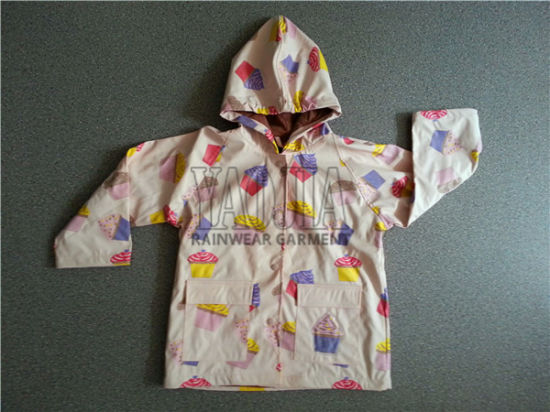 Comfortable Cartoon PU Rain Jacket for Kids