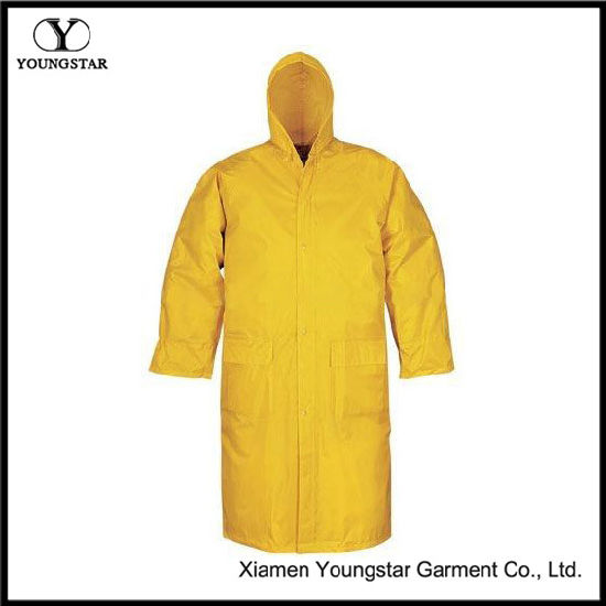 Durable Polyester Fashion Long Adult Raincoat