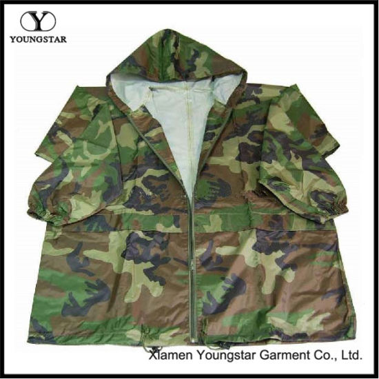 Jacket Style Military Camouflage Raincoat / Army Rain Wear