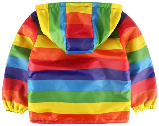 Cartoon Hooded Jacket Boys Outerwear Baby Jacket Infant Kids Kids Clothes Rainbow Stripe Zipper Waterproof Jacket