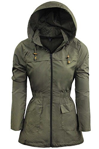 Women Plain Fishtail Hooded Lightweight Rain Parka Polyester Ladies Raincoat Jacket Two Pockets Plus Size
