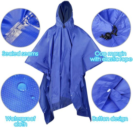 3 in 1 Rain Poncho with Carry Pouch, Multi Functional Lightweight Raincoat with Hood, Reusable Waterproof Raincoat Poncho for Bike Hiking Camping Outdoor