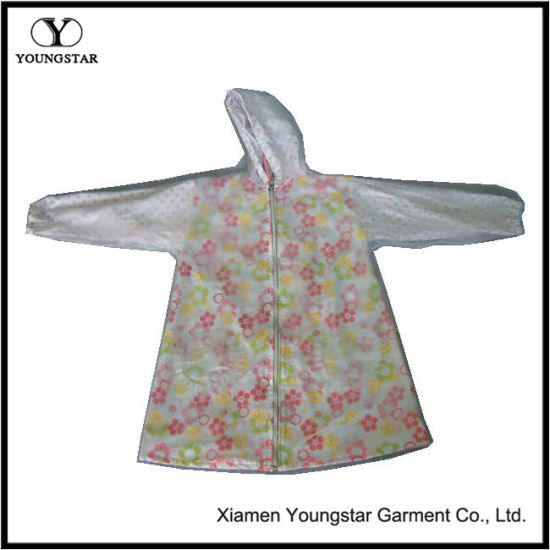 Kids Waterproof PVC Raincoat Hooded Cute Floral Girls Lined Raincoat