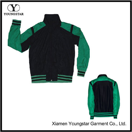 Green Black Microfiber Sports Sporty Jacket