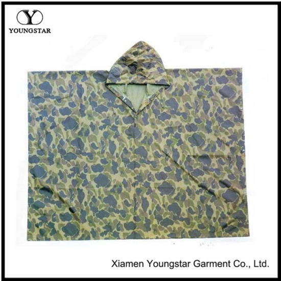 Minitary Camouflage Printed Polyester Poncho with PVC Coating