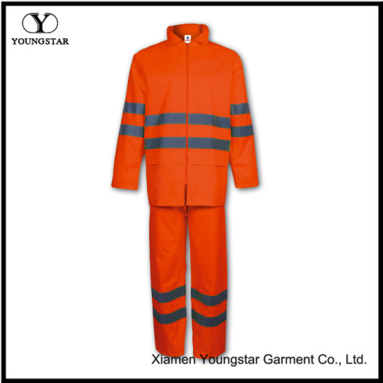 Practical PU Safety Rainsuit with Reflective Strip