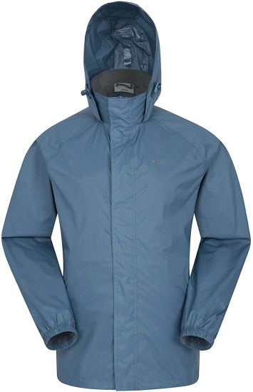 Men Waterproof Jacket - Foldaway Hood Rain Jacket, Pack Away Coat, Lightweight Raincoat - for Travelling, Outdoor, Camping