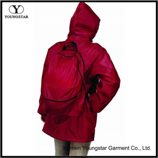Packable All-in-One Red Backpack Rain Jacket
