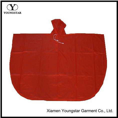 Practical Red Color PVC Rain Poncho for Adult or Children