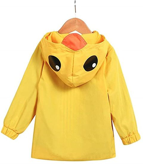 Yellow Duck Raincoat Cartoon Jacket Hooded Zip up Coat Outwear Kids