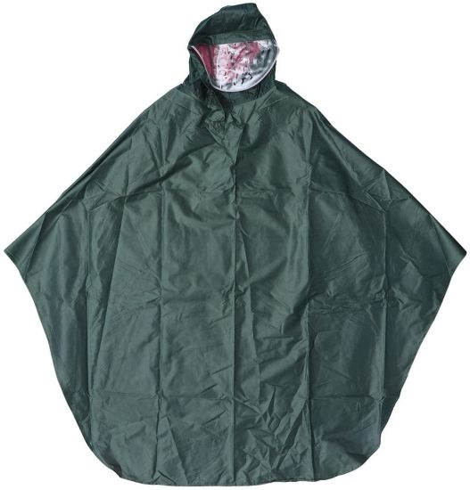 Men Women Cycling Bicycle Bike Rain Cape Poncho Hooded Windproof Rain Coat Mobility Scooter Cover Outdoor Camping Tent Mat with Transparent Cap (Army Green)