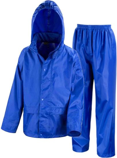 Waterproof Jacket & Trousers Suit Set in Black, Navy Blue or Royal Blue Childs Childrens Boys Girls
