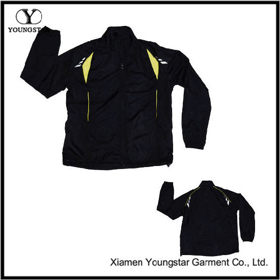 Black Polyester Sports Sporty Sport Jacket for Men