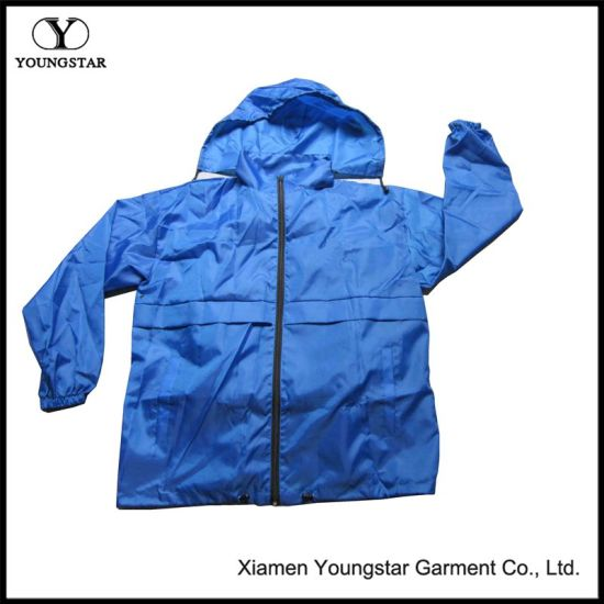 Wholesale XXL Blue Cycling Mens Windbreaker Jacket with Hood