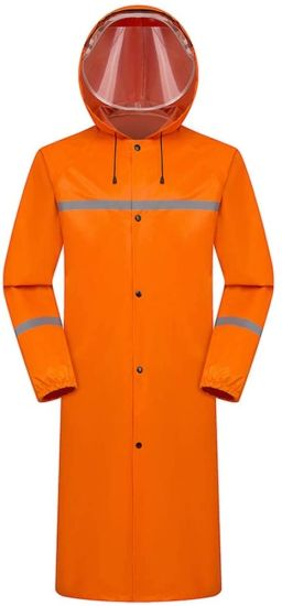 Raincoat Long Waterproof Hooded Rainwear/Jacket, Adult Reusable Cycling Rain Poncho, Riding Outdoor Rain Suits, Rainproof Windbreaker (Color: Orange, Size: X