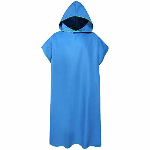 Hood Towel Poncho Adult, Microfiber Quick Dry Robe Hooded, Ultralight Changing Robe for Beach Diving Swimming Camping Travel, Unisex (Blue)